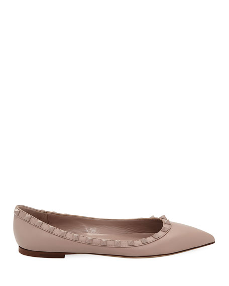 Rockstud Smooth Calf Leather Ballet Flats