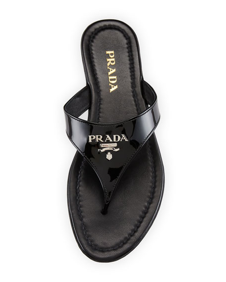 Patent Logo Thong Sandals