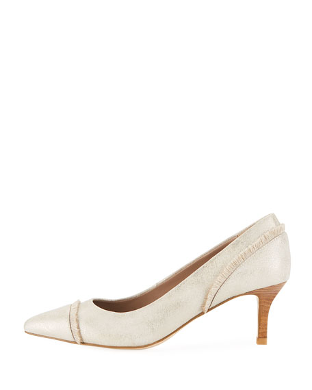Floe Frayed Kitten-Heel Pumps, Platino