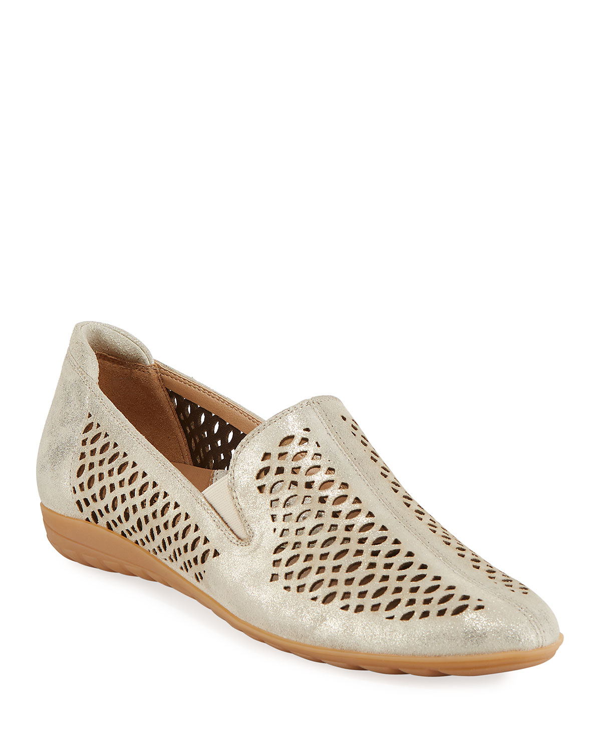 Sesto Meucci Byrna Metallic Perforated Leather Comfort Loafer