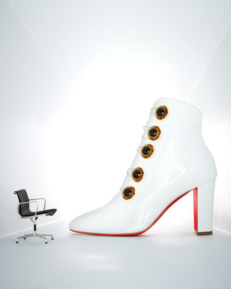 Christian Louboutin Lady See Patent Button Red Sole Bootie
