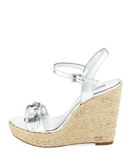 Jill Metallic Leather Espadrille Wedge Sandal with Sequined Flower