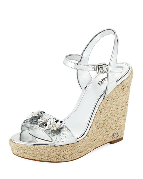 MICHAEL Michael Kors Jill Metallic Leather Espadrille Wedge