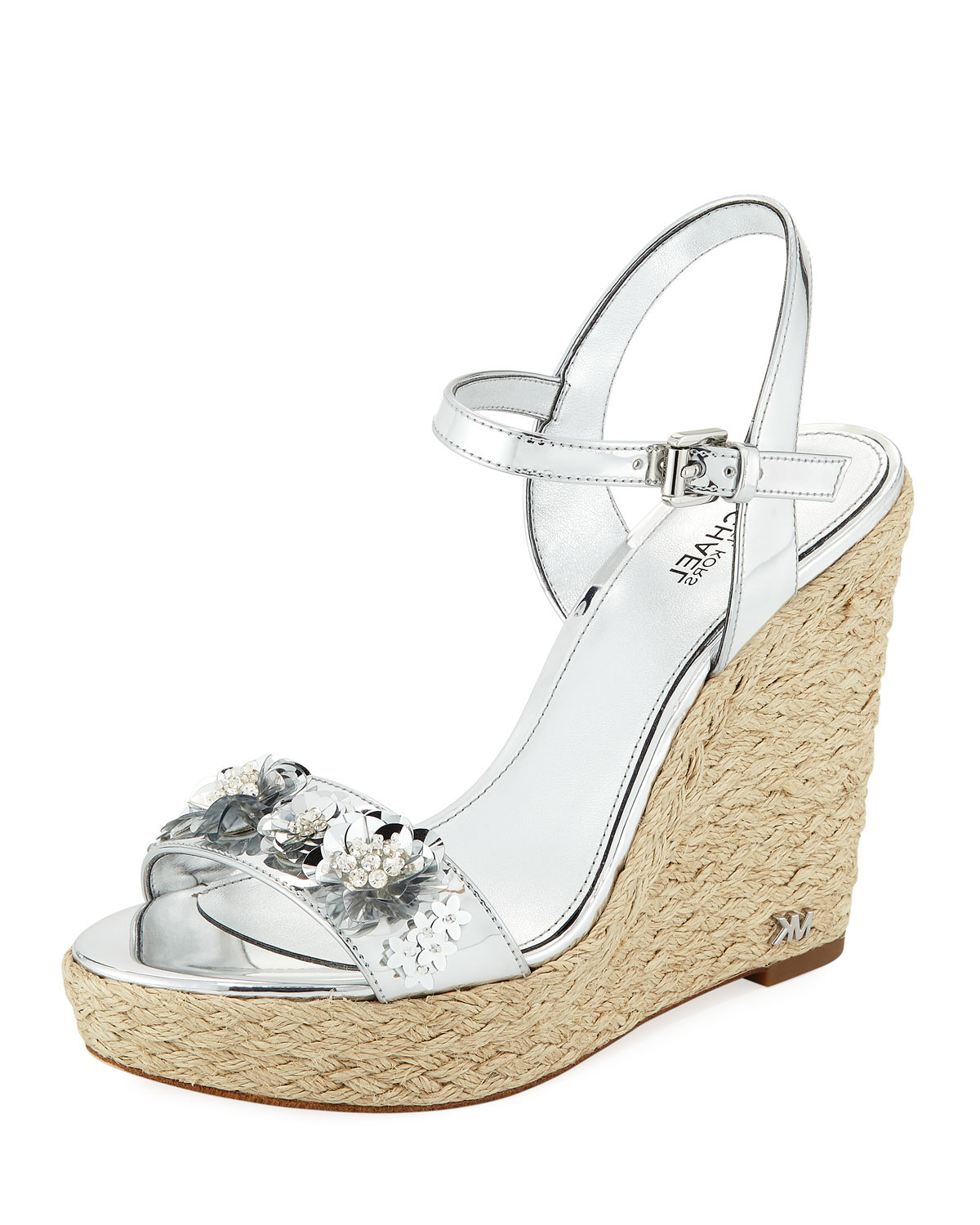 38b50569ba3 MICHAEL Michael KorsJill Metallic Leather Espadrille Wedge Sandal with  Sequined Flower