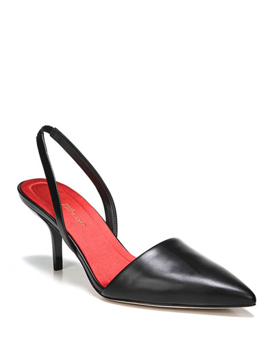 Mortelle Slingback Leather Pumps  Black