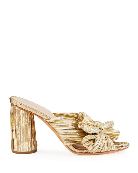 Penny Pleated Lamé Slide Sandal