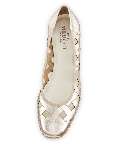 Sesto Meucci Myra Metallic Napa Wedge Espadrille Pumps