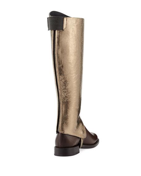 Metallic Leather Riding Boot with Monili Detail
