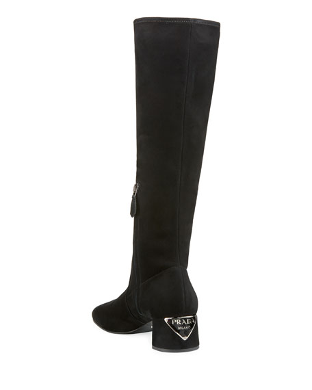 Stretch-Suede Knee Boot with Logo Heel