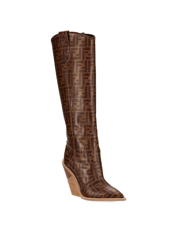 c010017022b Fendi FF Tall Western Boot
