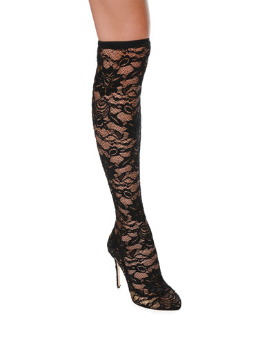 Stretch-Lace Over-The-Knee Boot