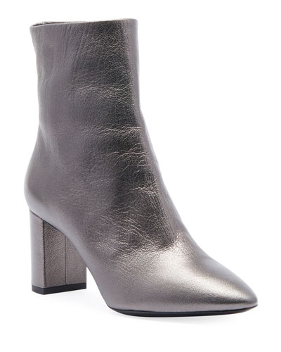 Lou Metallic Leather Low-Heel Booties