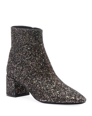 092baa86f8f2 Saint Laurent LouLou Washed Glitter Booties
