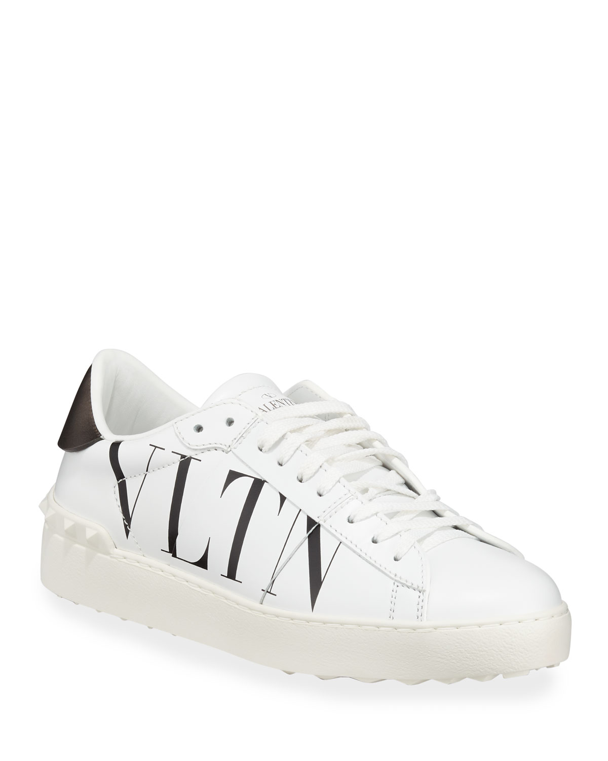 b0962c74df1 Valentino Garavani VLTN Open-Laced Leather Low-Top Sneakers