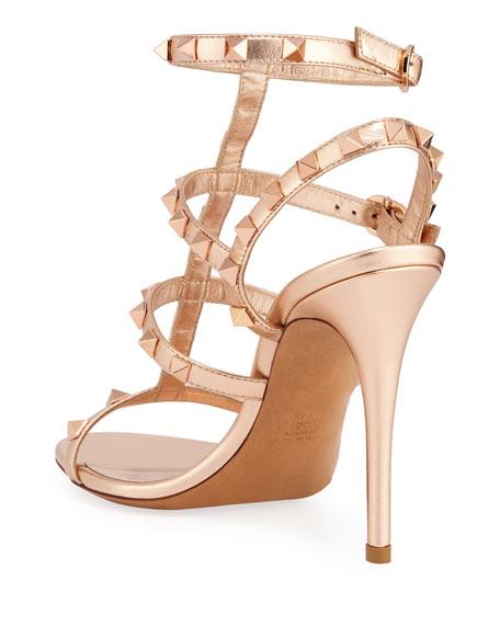 Valentino Garavani Rockstud Caged Metallic Sandals