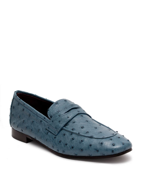 Bougeotte Flaneur Ostrich Penny Loafers, Blue