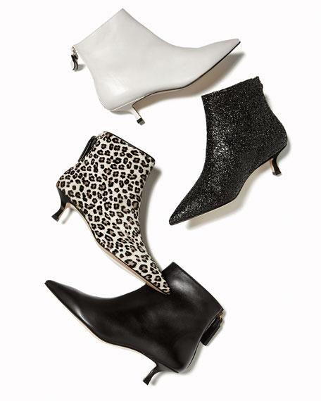 Juniper Leather Kitten-Heel Booties