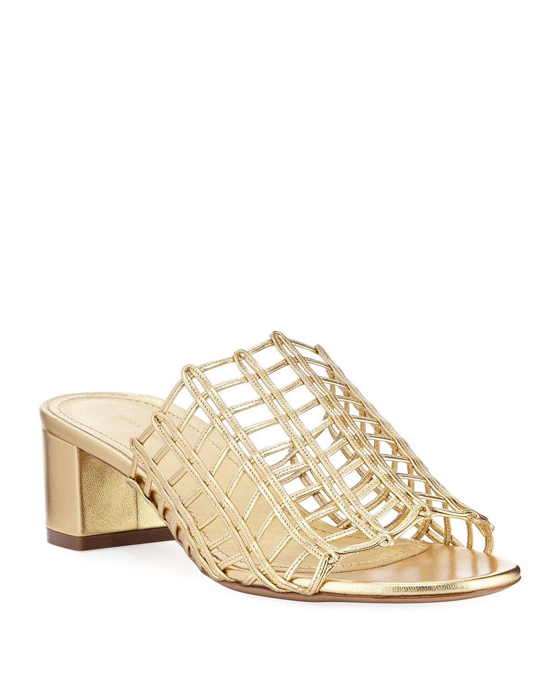 e5a5e4c1c8eee Mansur Gavriel Grid Metallic Leather Cutout Block-Heel Mule Slide Sandals