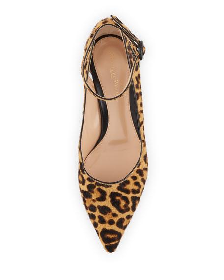 Leopard-Print Fur Ankle-Strap Pumps