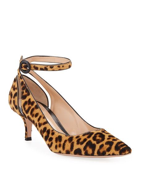 Gianvito Rossi Leopard-Print Fur Ankle-Strap Pumps