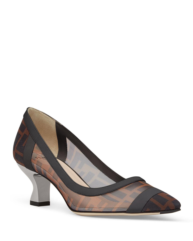 62e69104c9 Fendi FF Mesh Kitten-Heel Pointed-Toe Pumps | Neiman Marcus
