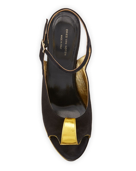 Dries Van Noten Deco-Heel Suede Platform Sandal
