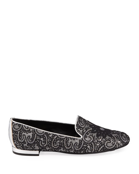 Image 3 of 4: Sesto Meucci Kama Embellished Flat Loafers, Gray