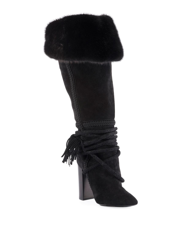 9cfda5b3aa4152 Saint Laurent Meurice Suede Knee Boots with Fur Collar