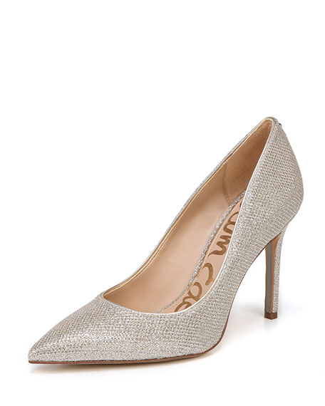 Image 1 of 4: Hazel Glam Mesh Pointed Pumps