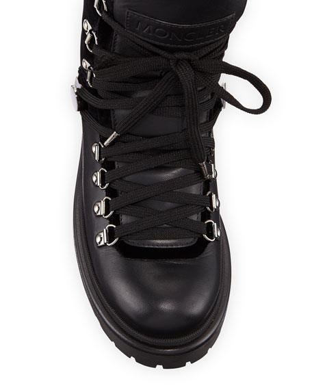 Moncler Berenice Leather and Velvet Hiker Boots