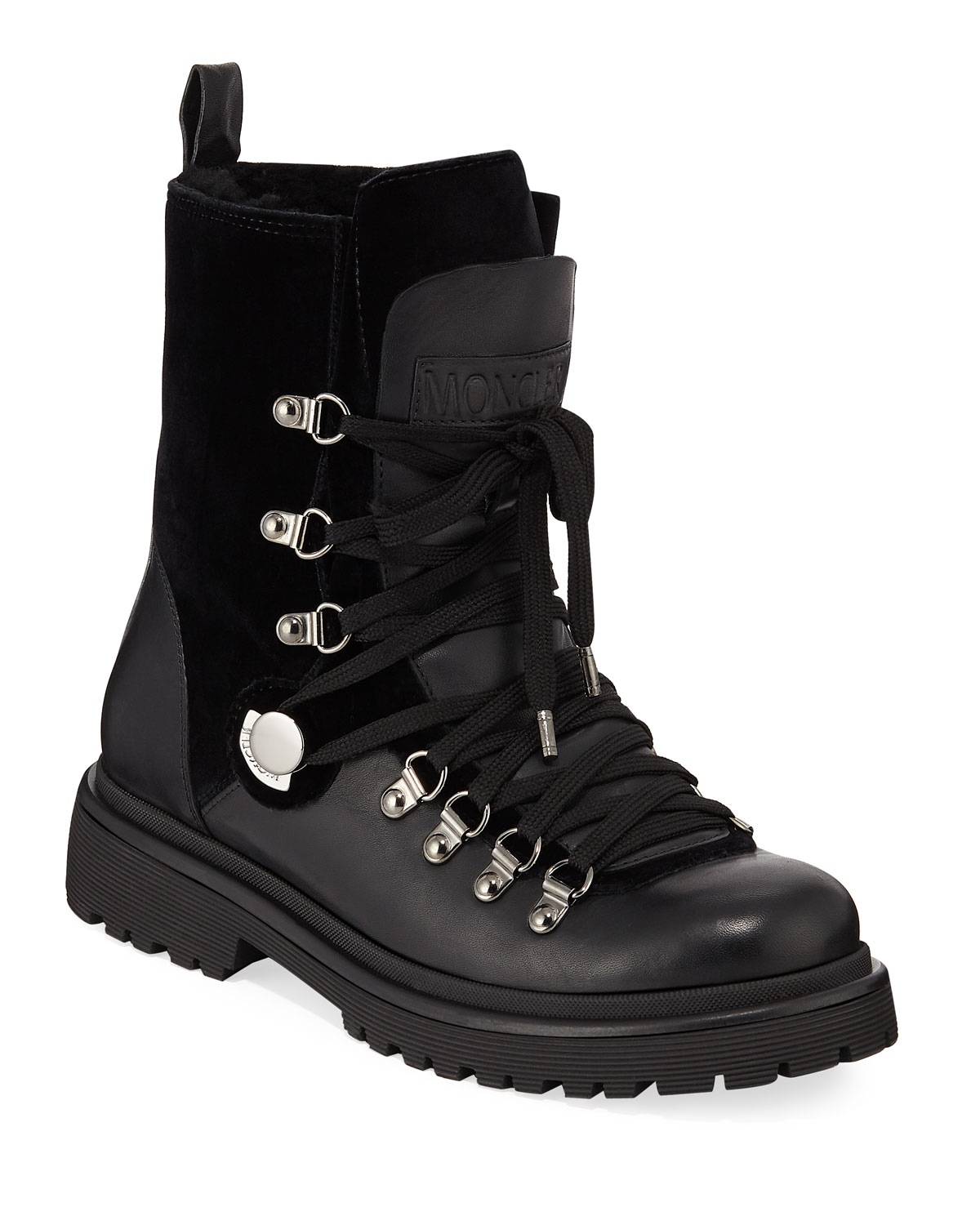 1290a0243a2 Berenice Leather and Velvet Hiker Boots