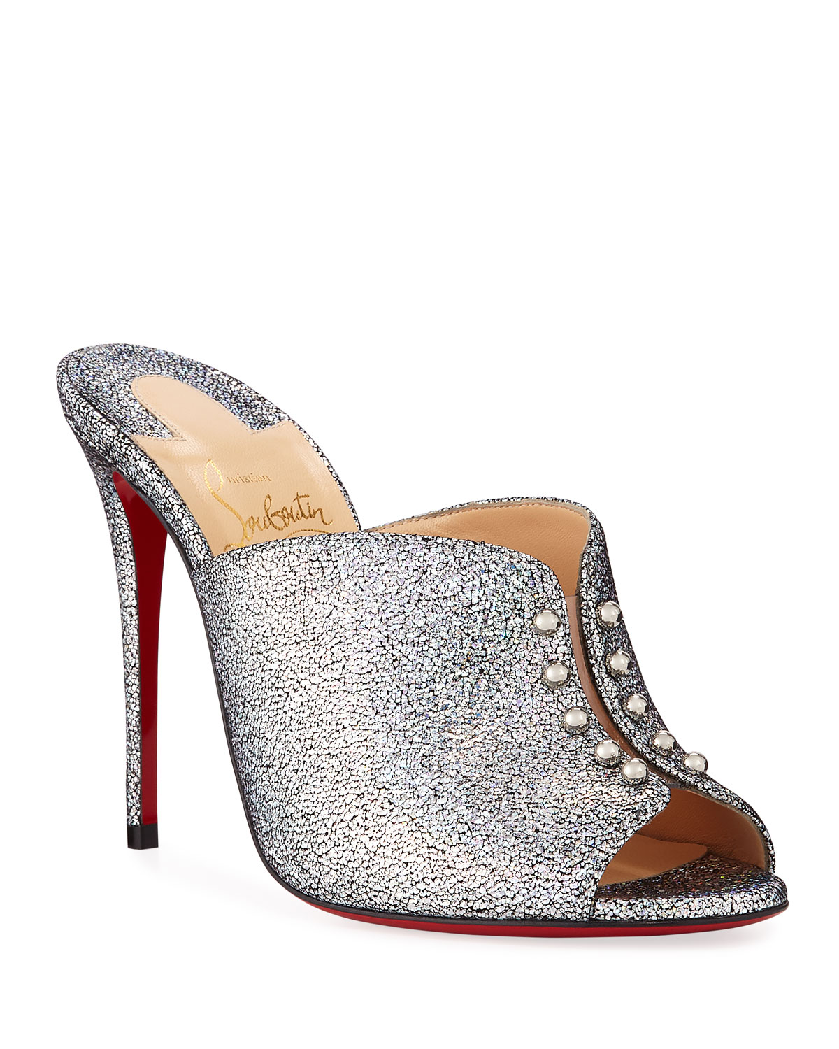 cd89c096d5c Predumule Chunky Glitter Red Sole Mules
