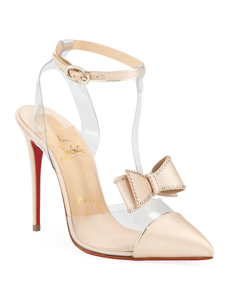 Image 1 of 5: Naked Bow Red Sole Pumps