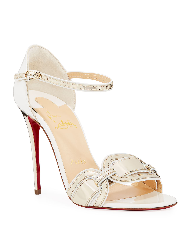 8a2e586eb8b9 Christian Louboutin Valparaiso Air-Stripe Patent Red Sole Sandals ...