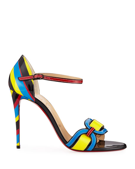 Christian Louboutin Valparaiso Colorblock Patent Red Sole Sandals