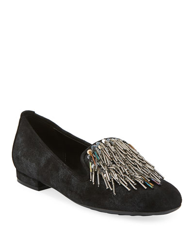 Kamile Embellished Suede Loafers  Black