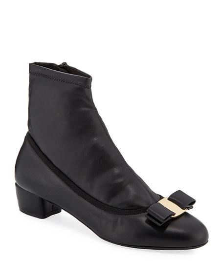 Salvatore Ferragamo Vara Calf Leather Sock Booties