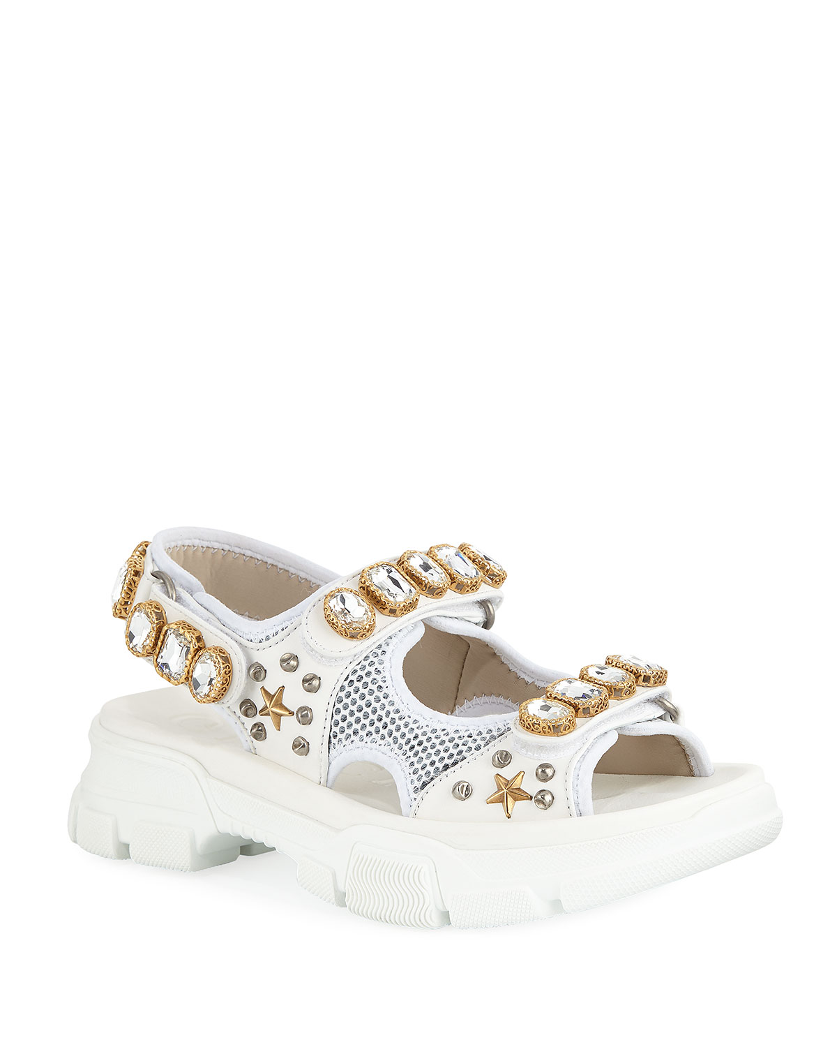 075fc429261c Gucci Metallic and Mesh Embellished Sandals