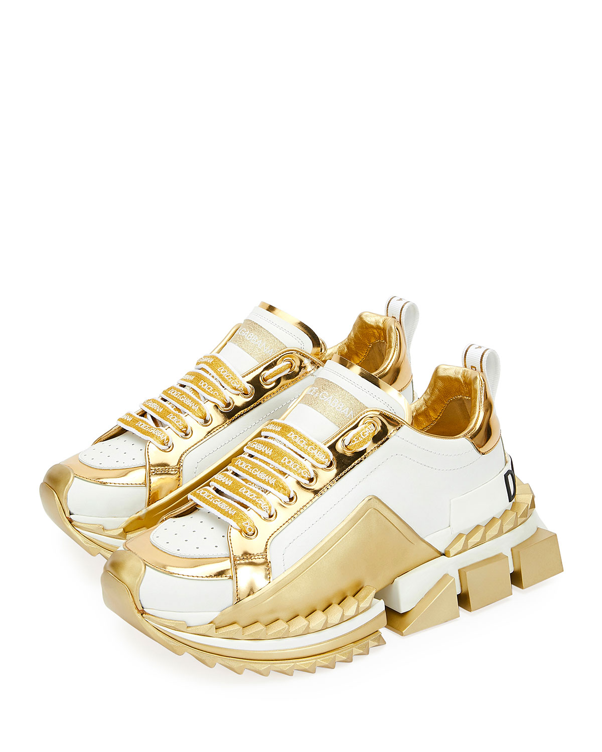 19ed59aab0ff Dolce   Gabbana Super Queen Metallic Trainer Sneakers