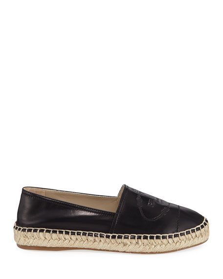Prada Slip-On Leather Logo Espadrilles