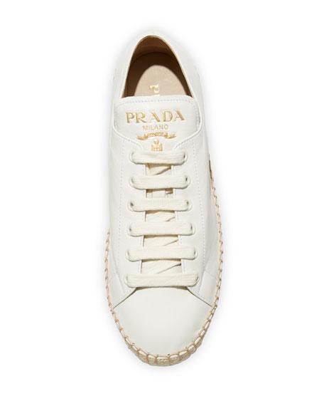 Prada Leather Platform Sneaker Espadrilles