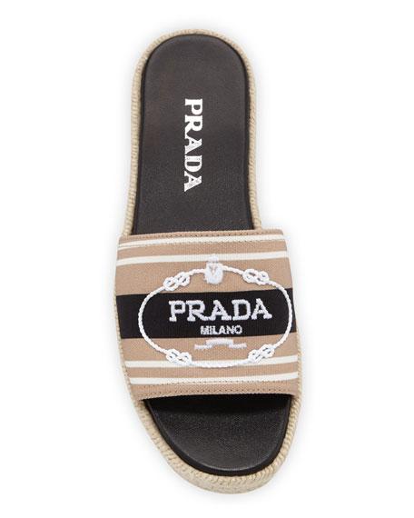 Prada Logo Embroidered Slide Espadrilles