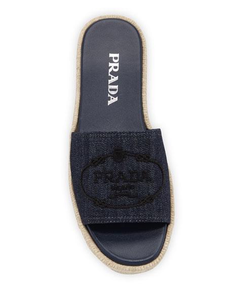 Prada Denim Logo Espadrille Slide Sandals