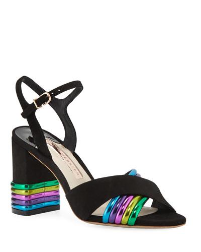 Joy Mid-Heel Metallic-Stripe Sandals