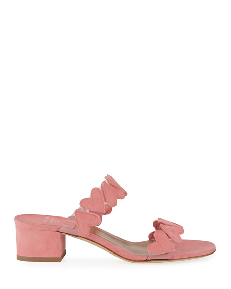 Image 2 of 3: Taja Heart Suede Slide Sandals