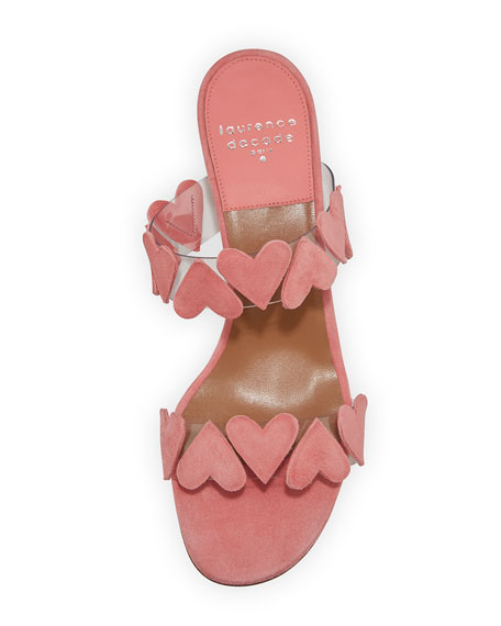 Image 3 of 3: Taja Heart Suede Slide Sandals