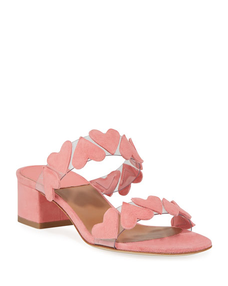 Image 1 of 3: Taja Heart Suede Slide Sandals