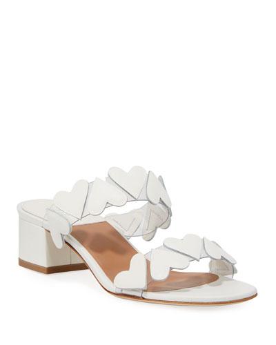 Taja Heart Leather Slide Sandals