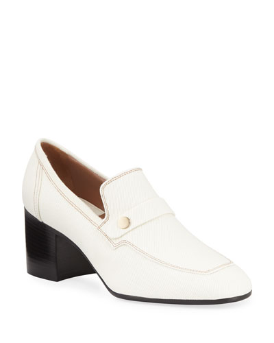 Tracy Heeled Canvas Penny Loafers