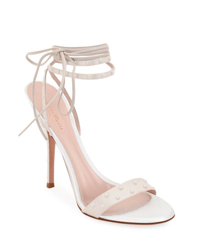 Strappy Napa/Satin Sandals with Pearly Details